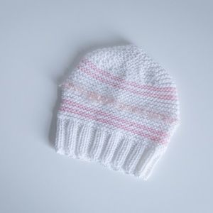 HAND KNITTED White Beanie with Light Pink Stripes